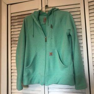 Women's Carhartt full zip hooded jacket.